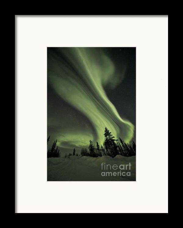 Light Swirls Over The Midnight Dome Framed Print By Priska Wettstein