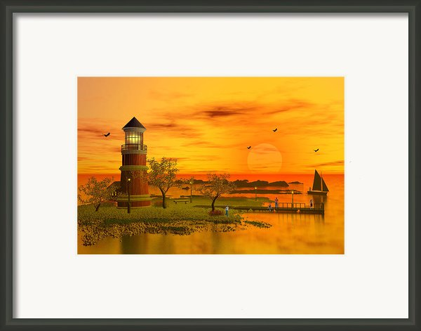 Lighthouse At Sunset Framed Print By John Junek