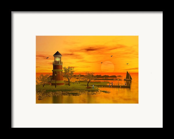 Lighthouse At Sunset Framed Print By John Junek