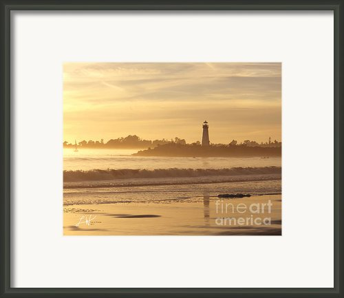 Lighthouse In Santa Cruz Harbor Framed Print By Author And Photographer Laura Wrede