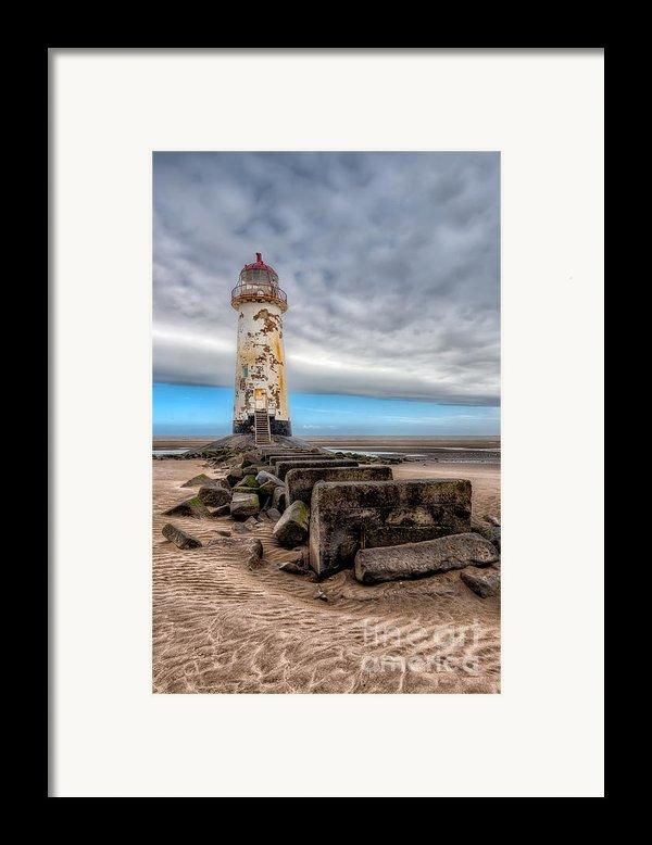 Lighthouse Steps Framed Print By Adrian Evans