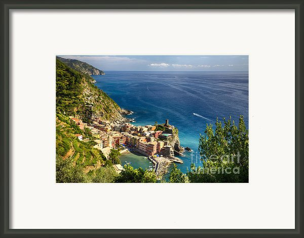 Ligurian Coast View At Vernazza Framed Print By George Oze