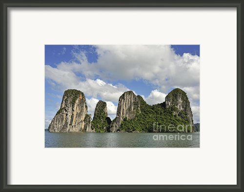 Limestone Karst Peaks Islands In Ha Long Bay Framed Print By Sami Sarkis