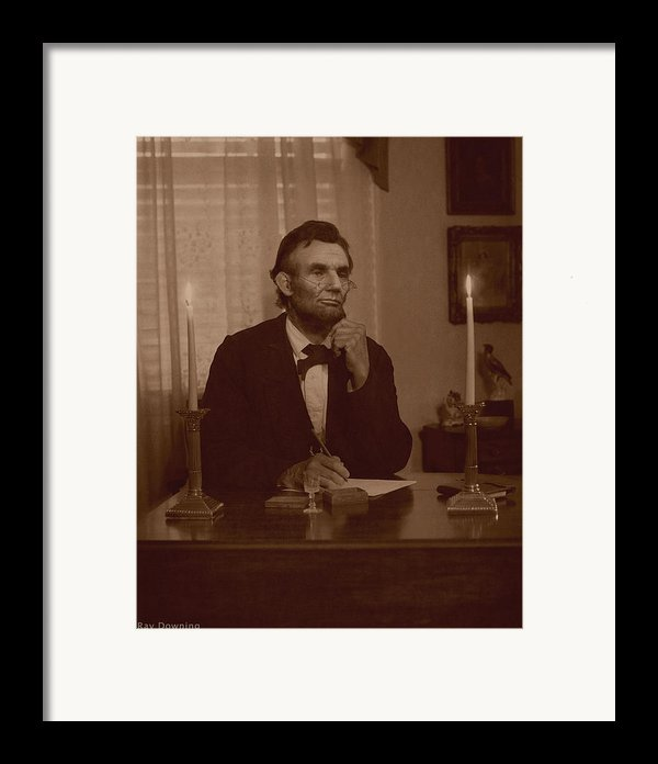 Lincoln At His Desk Framed Print By Ray Downing