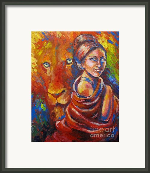 Lion Covering Framed Print By Cindy Elsharouni