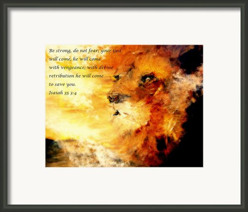 Lion Of Judah Courage  Framed Print By Amanda Dinan