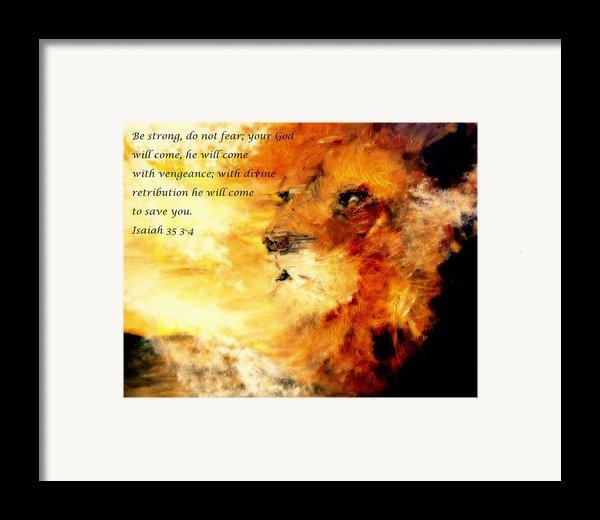 Lion Of Judah Courage  Framed Print By Amanda Dinan