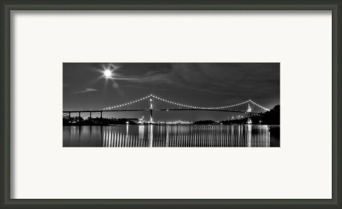 Lions Gate Bridge Black And White Framed Print By David  Naman