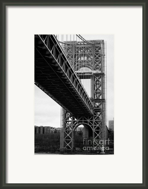 Little Red Lighthouse Beneath The George Washington Bridge Hudson River New York Nyc Framed Print By Joe Fox