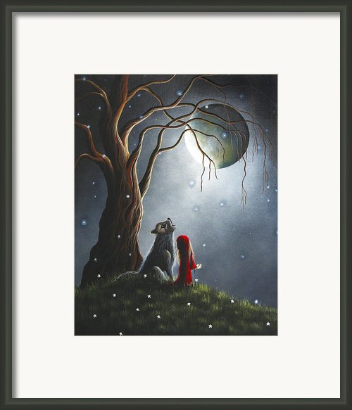 Little Red Riding Hood Night With The Lone Wolf By Shawna Erback Framed Print By Shawna Erback