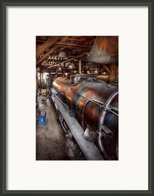 Locomotive - Routine Maintenance  Framed Print By Mike Savad