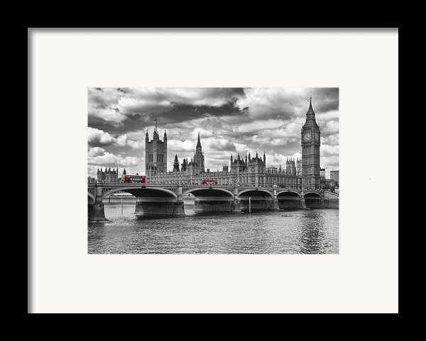 London - Houses Of Parliament And Red Buses Framed Print By Melanie Viola