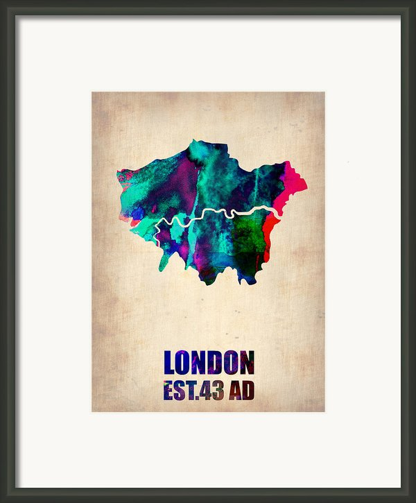 London Watercolor Map 2 Framed Print By Irina  March