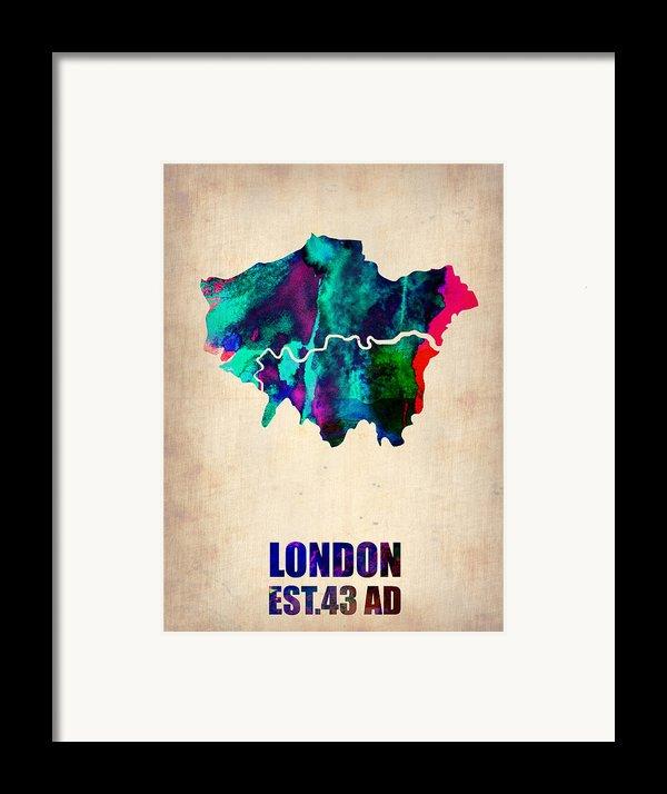 London Watercolor Map 2 Framed Print By Naxart Studio