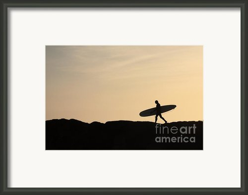 Longboarder Crossing Framed Print By Paul Topp