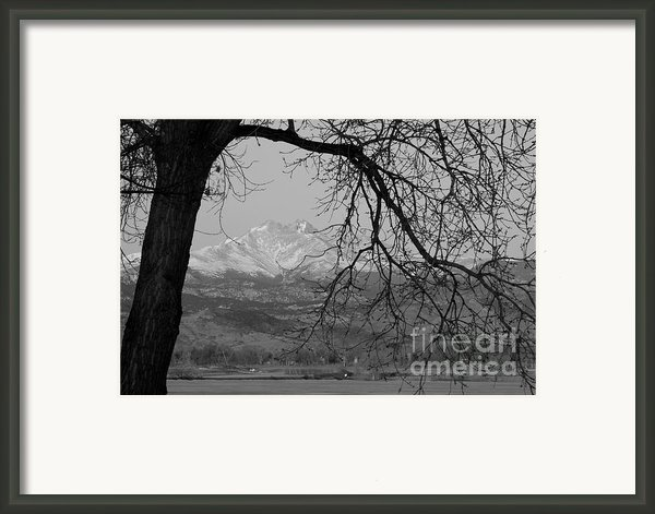 Longs Peak And Mt. Meeker The Twin Peaks Black And White Photo I Framed Print By James Bo Insogna