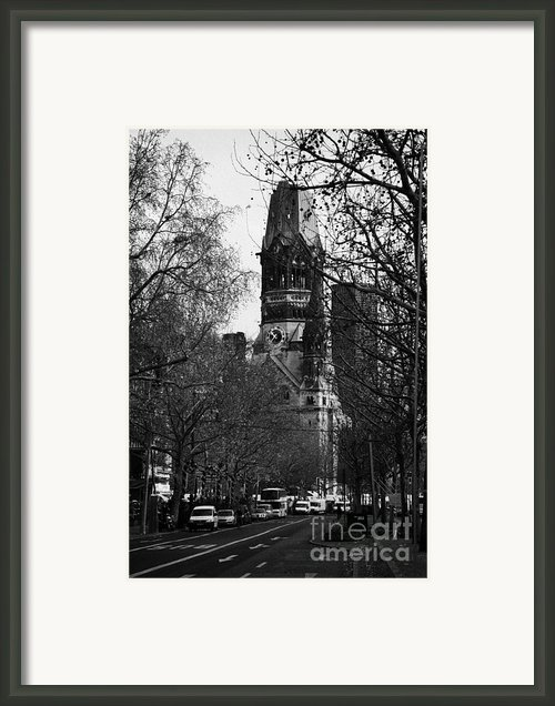Looking Down Kurfurstendamm Towards Kaiser Wilhelm Gedachtniskirche Memorial Church Berlin Germany Framed Print By Joe Fox