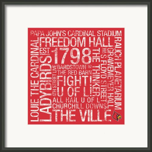 Louisville College Colors Subway Art Framed Print By Replay Photos