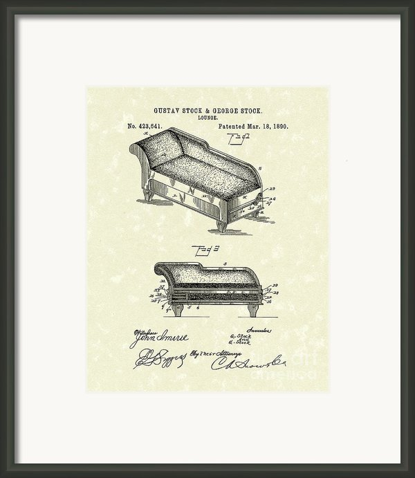 Lounge 1890 Patent Art Framed Print By Prior Art Design