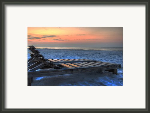Lounge Closeup On Beach ... Framed Print By Michael Thomas