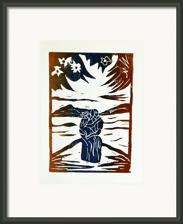 Lovers - Lino Cut A La Gauguin Framed Print By Christiane Schulze