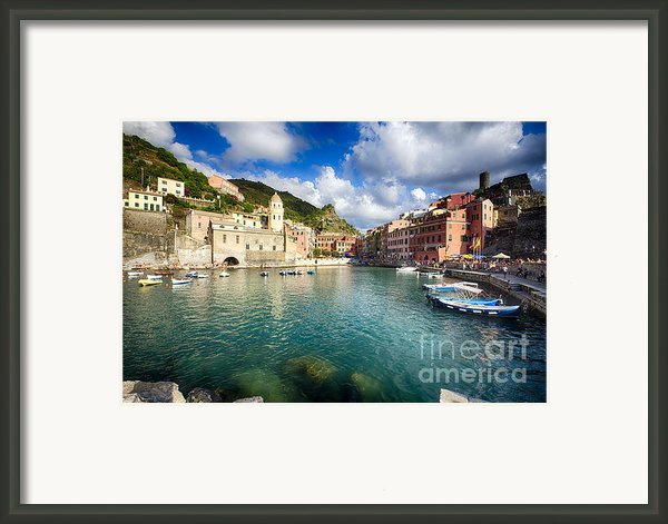 Low Angle View Of Vernazza  Harbor Framed Print By George Oze