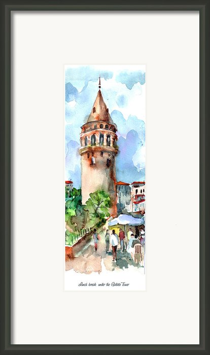 Lunch Break Under The Galata Tower Framed Print By Faruk Koksal