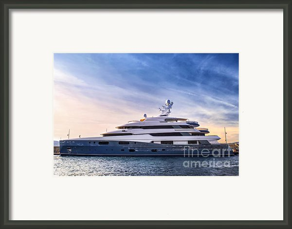 Luxury Yacht Framed Print By Elena Elisseeva