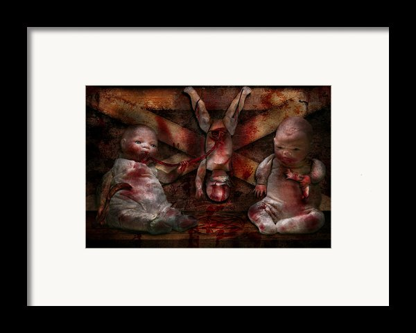 Macabre - Dolls - Having A Friend For Dinner Framed Print By Mike Savad