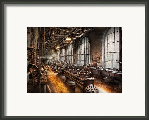 Machinist - A Room Full Of Lathes  Framed Print By Mike Savad
