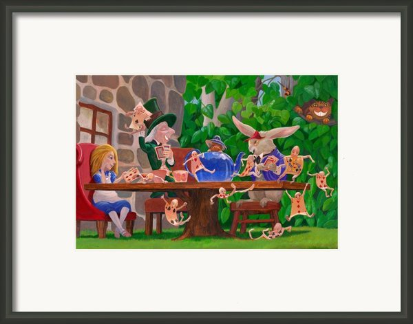 Mad Hatter Card Party Framed Print By Leonard Filgate