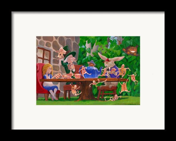 Mad Hatter Card Party Framed Print By Leonard Filgate