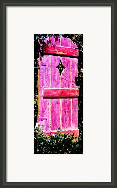 Magenta Painted Door In Garden  Framed Print By Asha Carolyn Young And Daniel Furon