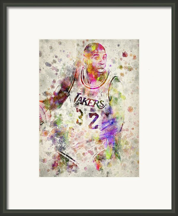 Magic Johnson Framed Print By Aged Pixel