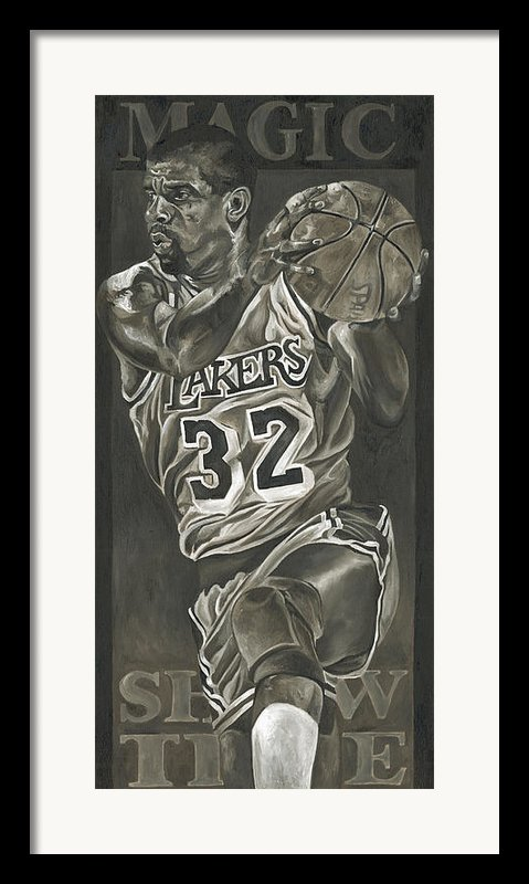 Magic Johnson - Legends Series Framed Print By David Courson