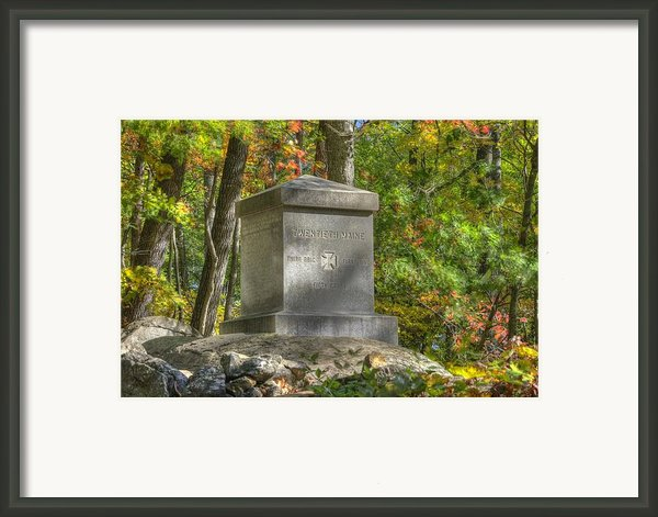 Maine At Gettysburg - 20th Maine Volunteer Infantry-b Little Round Top Extreme Left Of The Aotp Framed Print By Michael Mazaika