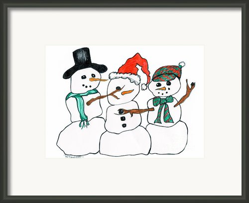 Making Snowman Santa Framed Print By Minnie Lippiatt