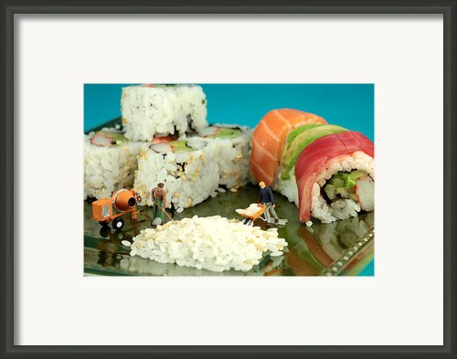 Making Sushi Little People On Food Framed Print By Paul Ge