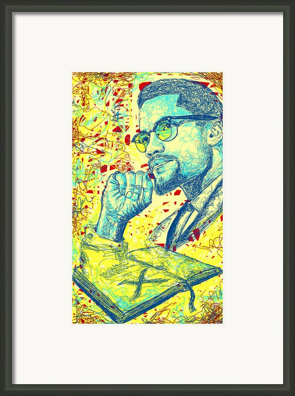 Malcolm X Drawing In Lines Framed Print By Kenal Louis