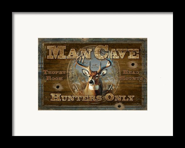Man Cave Deer Framed Print By Jq Licensing