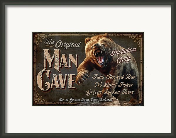 Man Cave Grizzly Framed Print By Jq Licensing