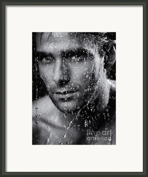 Man Face Wet From Water Running Down It Black And White Framed Print By Oleksiy Maksymenko