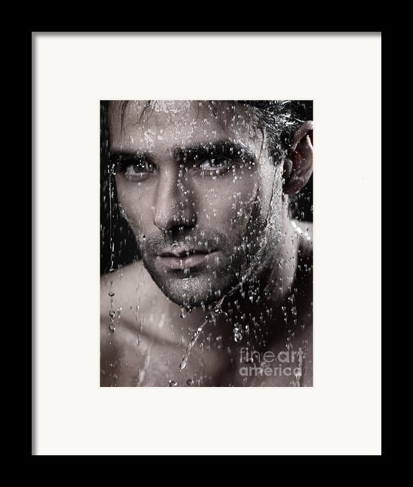 Man Face Wet From Water Running Down It Framed Print By Oleksiy Maksymenko