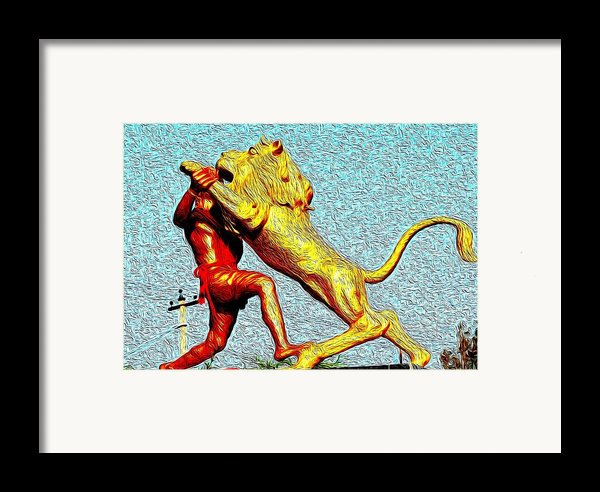 Man Fighting With Lion Bravery Framed Print By Deepti Chahar