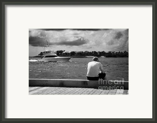 Man Fishing On Mallory Square Seafront Key West Florida Usa Framed Print By Joe Fox
