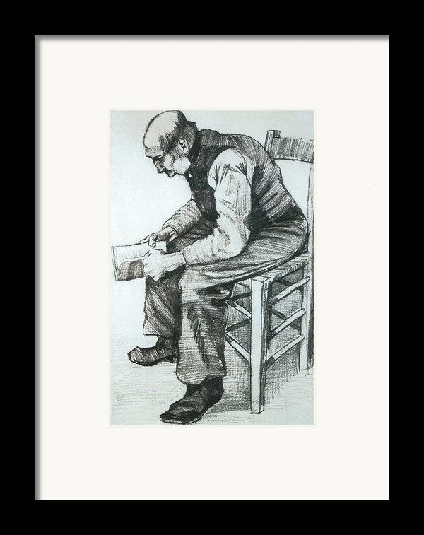 Man Reading The Bible Framed Print By Vincent Van Gogh