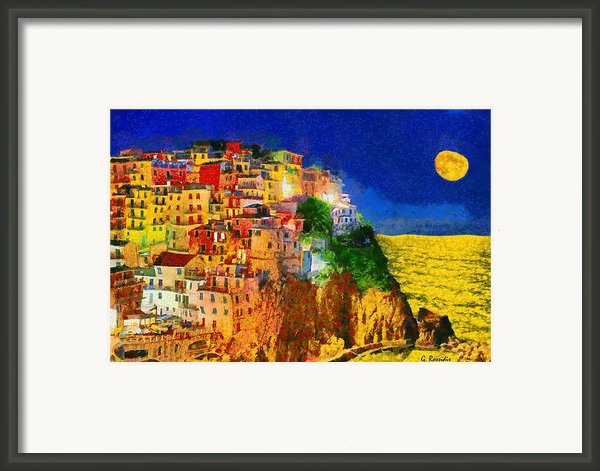 Manarola By Night Framed Print By George Rossidis