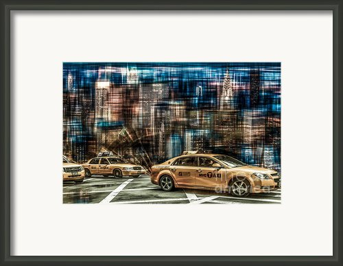 Manhattan - Yellow Cabs - Future Framed Print By Hannes Cmarits