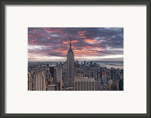 Manhattan Under A Red Sky Framed Print By Joachim G Pinkawa