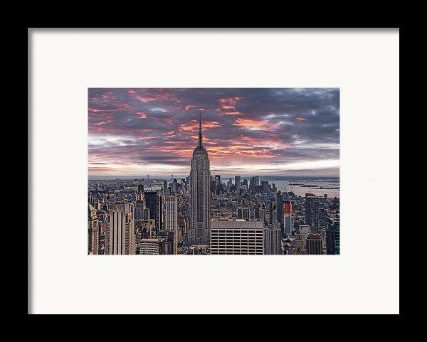 Manhattan Under A Red Sky Framed Print By Joachim G Pinkawa